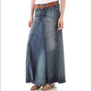 Vintage Express Long Boho Denim Skirt